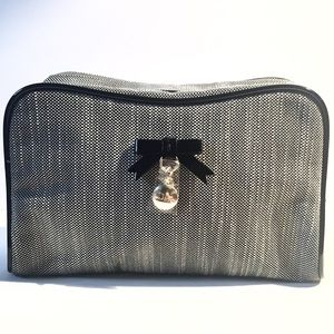 DIOR Cosmetics Pouch Logo Charm Bow Makeup Bag NEW